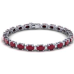 30.8 CTW Ruby & VS/SI Certified Diamond Eternity Bracelet 10K White Gold - REF-217A5V - 29459