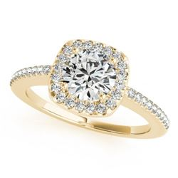 1.01 CTW Certified VS/SI Diamond Solitaire Halo Ring 18K Yellow Gold - REF-198F9N - 26601