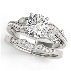 1.07 CTW Certified VS/SI Diamond Solitaire 2Pc Wedding Set Antique 14K White Gold - REF-195F5N - 315