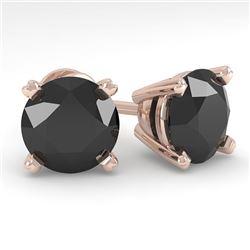 4.0 CTW Black Diamond Stud Designer Earrings 18K Rose Gold - REF-120M2F - 32324