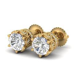 2.04 CTW VS/SI Diamond Solitaire Art Deco Stud Earrings 18K Yellow Gold - REF-361A8V - 37243
