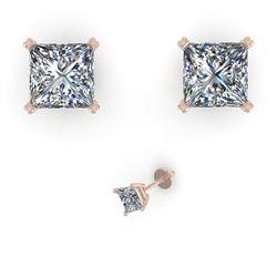 1.0 CTW Princess Cut VS/SI Diamond Stud Designer Earrings 14K White Gold - REF-148X5R - 38362