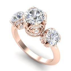 3 CTW VS/SI Diamond Solitaire Art Deco 3 Stone Ring Band 18K Rose Gold - REF-649A3V - 36867