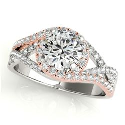 1.50 CTW Certified VS/SI Diamond Solitaire Halo Ring 18K White & Rose Gold - REF-416K9W - 26613