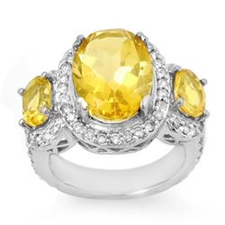 8.50 CTW Citrine & Diamond Ring 10K White Gold - REF-91W5H - 10714