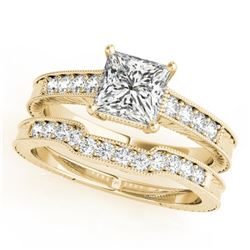 1.18 CTW Certified VS/SI Princess Diamond Solitaire 2Pc Set Antique 14K Yellow Gold - REF-240R5K - 3
