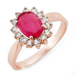 1.27 CTW Ruby & Diamond Ring 14K Rose Gold - REF-39N3A - 10095