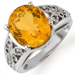 5.15 CTW Citrine & Diamond Ring 10K White Gold - REF-39N3A - 10989