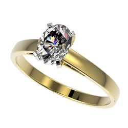 1 CTW Certified VS/SI Quality Oval Diamond Solitaire Ring 10K Yellow Gold - REF-297A2V - 32993