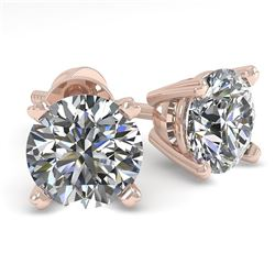 1.02 CTW VS/SI Diamond Stud Designer Earrings 14K Rose Gold - REF-122X3R - 30585