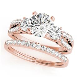 1.71 CTW Certified VS/SI Diamond 3 Stone 2Pc Set Wedding 14K Rose Gold - REF-398X9R - 32043