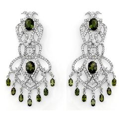 17.30 CTW Green Tourmaline & Diamond Earrings 18K White Gold - REF-533M8F - 11172