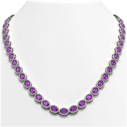 29.38 CTW Amethyst & Diamond Necklace White Gold 10K White Gold - REF-503Y5X - 40439