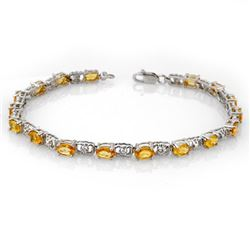 6.02 CTW Yellow Sapphire & Diamond Bracelet 14K White Gold - REF-58F2N - 11226