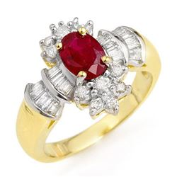 1.78 CTW Ruby & Diamond Ring 14K Yellow Gold - REF-76Y5X - 12835