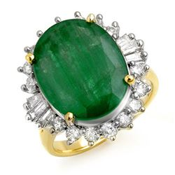 10.07 CTW Emerald & Diamond Ring 14K Yellow Gold - REF-117F8N - 13216
