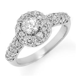 1.35 CTW Certified VS/SI Diamond Ring 18K White Gold - REF-146K5W - 11295