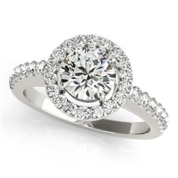 1.02 CTW Certified VS/SI Diamond Solitaire Halo Ring 18K White Gold - REF-208K2W - 26329