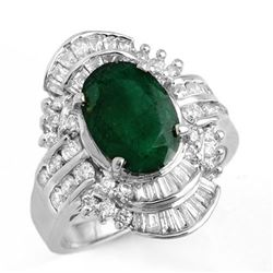 3.45 CTW Emerald & Diamond Ring 18K White Gold - REF-140W2H - 12975