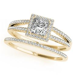 1.26 CTW Certified VS/SI Princess Diamond 2Pc Set Solitaire Halo 14K Yellow Gold - REF-232W2H - 3136