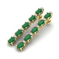 12.36 CTW Emerald & VS/SI Certified Diamond Tennis Earrings 10K Yellow Gold - REF-93H3M - 29395
