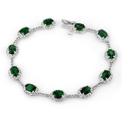 10.40 CTW Emerald & Diamond Bracelet 10K White Gold - REF-84F4N - 10780