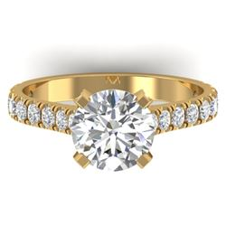 2.4 CTW Certified VS/SI Diamond Solitaire Art Deco Ring 14K Yellow Gold - REF-674W2H - 30443