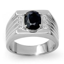 3.76 CTW Blue Sapphire & Diamond Men's Ring 10K White Gold - REF-73F8N - 13515