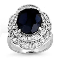 7.85 CTW Blue Sapphire & Diamond Ring 18K White Gold - REF-166A4V - 13077