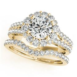 2.35 CTW Certified VS/SI Diamond 2Pc Wedding Set Solitaire Halo 14K Yellow Gold - REF-437F3N - 31099