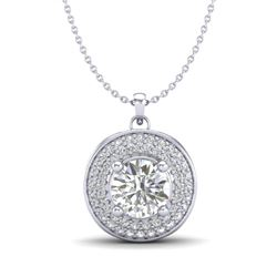 1.25 CTW VS/SI Diamond Solitaire Art Deco Necklace 18K White Gold - REF-272N7A - 37259