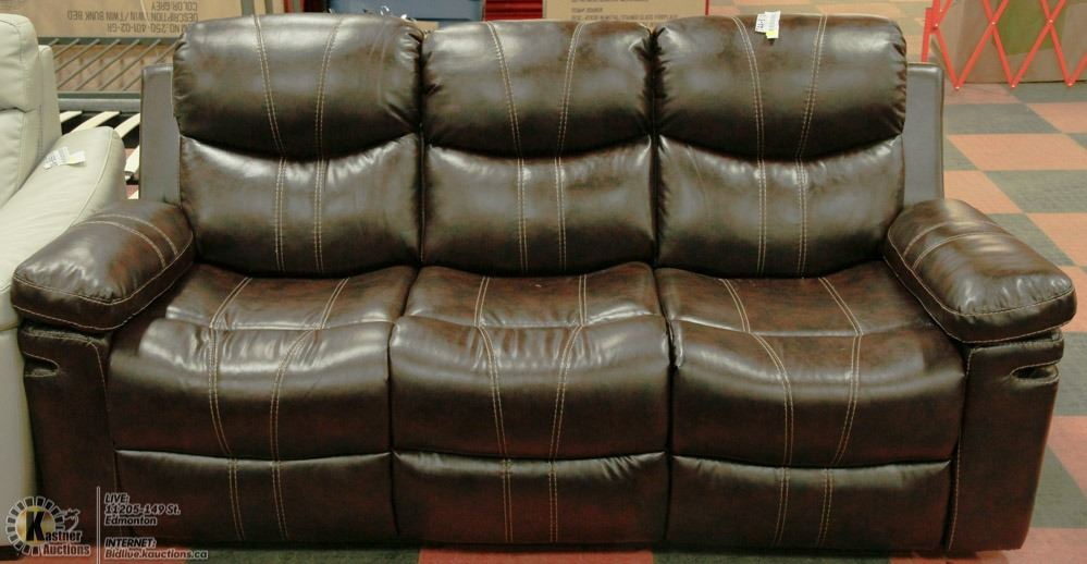 Brown Leatherette Sofa With Drop Down Tray