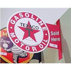 TEXACO DOUBLE SIDED TIN FLANGE SIGN