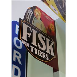 FISK TIRES DOUBLE SIDED TIN FLANGE SIGN