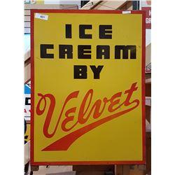 VINTAGE VELVET ICE CREAM METAL SIGN
