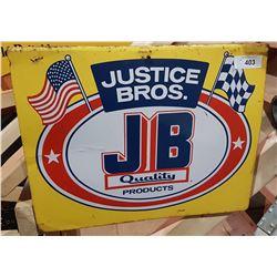 ORIGINAL JUSTICE BROS. TIN SIGN