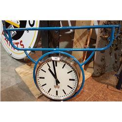 VINTAGE COMMERCIAL STORE CLOCK W/ORIGINAL BRACKET