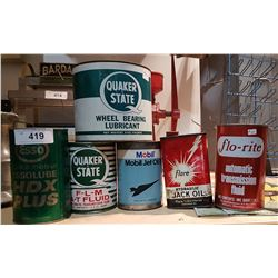 SIX PCS-OIL & GREASE CANS