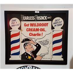 ORIGINAL 1954 FRAMED WILDROOT BARBER CARDBOARD SIGN