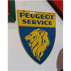 ORIGINAL PEUGOT SERVICE DEALERSHIP SIGN DOUBLE SIDED