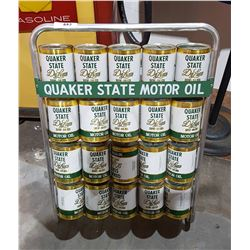 QUAKER STATE OIL RACK W/20 OIL CAN BANKS