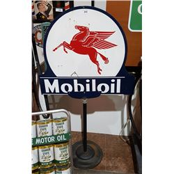 CUSTOM MADE MOBIL OIL CURB SIGN DOUBLE SIDED