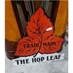 VINTAGE THE HOP LEAF PORCELAIN SIGN