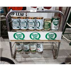 QUAKER STATE OIL RACK W/9 FULL OIL QUARTS