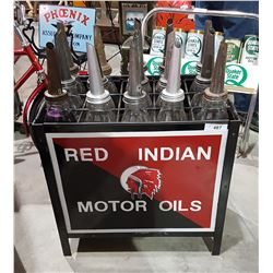 CUSTOM MADE RED INDIAN MOTOR OIL RACK W/15 OIL BOTTLES