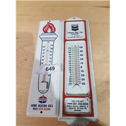 TWO VINTAGE METAL THERMOMETERS