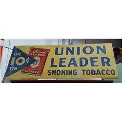 1920'S LARGE UNION LEADER TOBACCO CARDBOARD SIGN