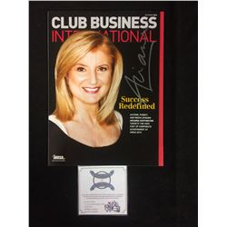 ARIANNA HUFFINGTON AUTOGRAPHED CLUB BUSINESS INTERNATIONAL  W/ COA
