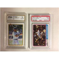 1990 BOWMAN #481 KEN GRIFFEY JR (10 GEM MINT) & 1974 OPC #575 STEVE GARVEY (NM 7)