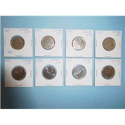 LOT OF 9 CANADIAN QUARTERS - 1968, 1969, 1970, 1973, 1974, 1975, 1977, 1978,  1979
